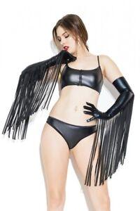 Wetlook Handschuhe mit Fransen Lack schwarz Club Party Kostüm