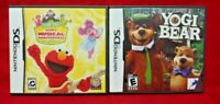 Sesame Street Elmo + Yogi Bear - Nintendo DS Lite 3DS 2DS 2 Game Lot Tested
