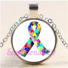 Autism Ribbon Photo Cabochon Glass Tibet Silver Chain Pendant Necklace#CE45