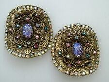 Vintage Pair Large  MUSI Cats Eye Aurora Borealis Rhinestone Shoe Clips