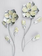 Formano Wanddeko Blume Wandblume Wandrelief 58 cm silber weiß sortiert
