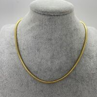 VINTAGE Round Snake Chain Necklace Gold Tone Collar Length Retro 70s Disco 80s