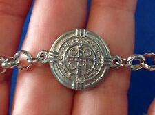 Stainless Steel Saint Bracelet ST BENEDICT Protection Saint Medal Two Sided