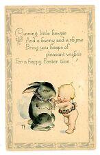Easter Greetings -KEWPIE BABY & RABBIT-Rose O'Neill Postcard Bunny/Artist Signed