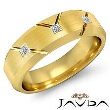 Princess 3 Stone Diamond Mens Half Wedding Band 14k Yellow Gold Solid Ring 0.2Ct