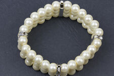 3-Row  Simulated Pearl & Rhinestone Crystal  Bridal Wedding Stretch Bracelet
