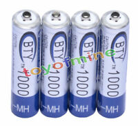 4 X Ni-MH AAA 1000mAh 1.2V 3A Rechargeable Battery