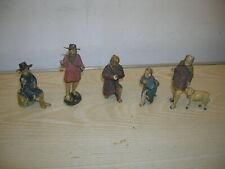 Fünf antike GRULICHER Krippenfiguren aus Holz 10cm Serie um 1900 unrestauriert