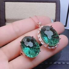 Certified Green Quartz Crystal 925 Silver Sterling Pendant Ring Set Women Gift