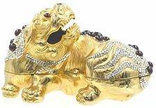 Judith Leiber Chinese Foo Dog Garnet Gold  Red Minaudiere Evening Bag Vintage