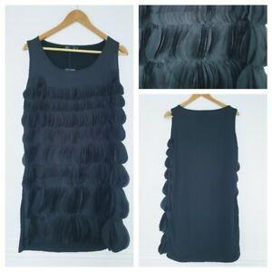 ❤️BNWT INDULGENCE black layered ruffle shift dress size M/L UK 12-14 191