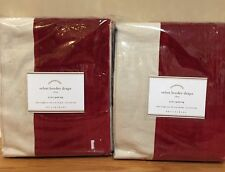 """NEW 2PC Pottery Barn Velvet Bordered Drape 96"""" RED"""