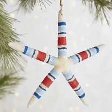Patriotic Striped Starfish Ornament Nautical Christmas Tree Red White Pier 1 NEW