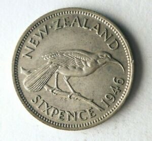 1946 NEW ZEALAND 6 PENCE - Rare Date High Value Silver Coin - Lot #Y8