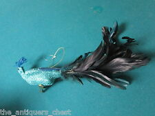 "Bird Christmas ornament, turquoise glittering body real blue feathers, 12""[xmas1"