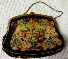 VIINTAGE C1910 SMALL TAPESTRY EVENING PURSE, GOLD CHAIN HANDLE, CLASP FASTENER