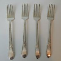 (4) 1847 Rogers Bros Silverplate Adoration Pattern Dinner Forks 7 1/2""