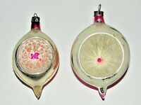 "2 VTG Christmas Ornament Indent Teardrop Pink Pearl Mercury Glass Poland 3.5""-4"""