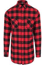 Urban Classics - larga franela a cuadros camiseta camisa de hombre informal m Blk/rojo