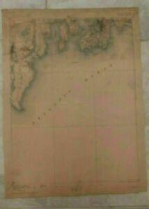 1912 Geological Survey Topographic Map RI Newport S Kingston Atlantic Ocean