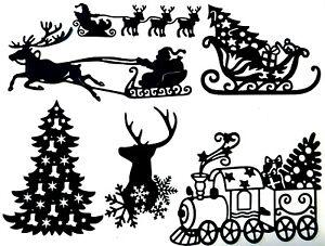 SANTA PULLED by REINDEER, SLED, CHRISTMAS TREE, TRAIN ++ SILHOUTTE DIE CUT/ CUTS