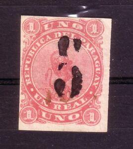 PARAGUAY - 1878 5 (CENTS) BLACK SURCHARGE ON 1r LION ROSE