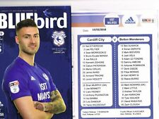 Cardiff City v Bolton Wanderers 13/02/18 + Official Colour Teamsheet