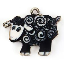 Sheep Black Enamel Pendant Charms Qty 2