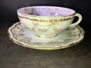K) LIMOGES FRANCE COFFEE CUP SAUCER HAVILAND L L STEARNS & SONS WILLIAMSPORT PA