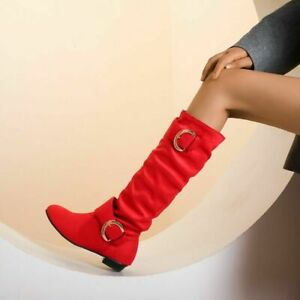 Womens Knee High Boots Casual Flat Faux Suede Slouch Mid Calf Riding Boots Solid