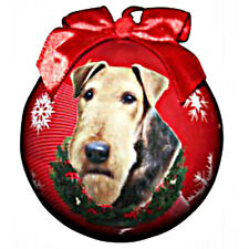 E&S Pets Holiday Christmas Ornament Ball Shatterproof NEW Airedale Terrier Dog