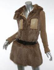 BURBERRY PRORSUM Womens Tan MINK FUR CASHMERE KNIT LEATHER Belted Coat Jacket XS