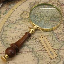 Antique Vintage Magnifying Glass Brass Wooden Handle Map Nautical Xmas Gift 8CM