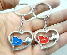 1Pair lovers keychain Heart-shaped key stainless steel alloy