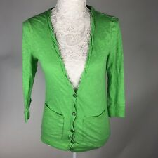 Ladies Green 3/4 Sleeve Button up cardigan pockets crinkle size Small P