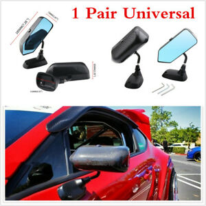 1 Pair Blue Rearview Mirror F1 Style Carbon Fiber Look Universal For Car SUV