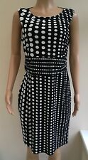 Wallis Black White Spotty Dress Size 14  #R1
