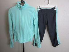 Kyodan Girls Blue Gray Zip Front Track Jacket + Crop Leggings Pants Set 10 12 M