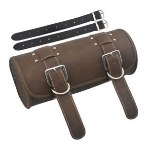 Motorcycle Luggage Leather Roll Side Tool Bag For Harley Honda Chopper Bobber