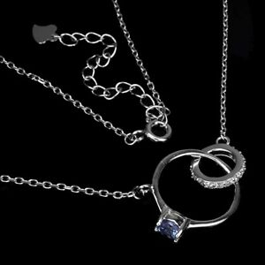 Unheated Round Tanzanite 4mm Cz White Gold Plate 925 Sterling Silver Necklace