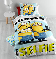 Disney Minions Selfie Official  Duvet Cover&Pillow Case Cotton Kids Believe in u
