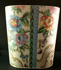Vintage Trash Can Waste Basket Plastic Fabric Covered Floral Birds Shabby Chic
