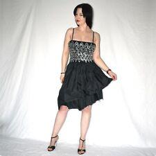 silber Pailletten am COCKTAILKLEID* S 38 * Satin schwarzes Partykleid* Minikleid
