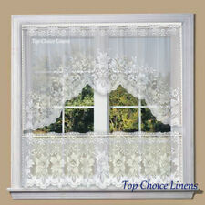 White Lace Kitchen Home Window Cafe Curtain w Scallope Edge 2PC Set 160cm Wide