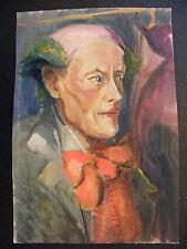 Gouache sur Papier Portrait de Clown André Simon (1926-2014)  Artiste Lorrain