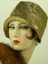 VINTAGE HAT 1920s USA ORIGINAL CLOCHE HAT, GOLD LACE & LAME w GOLD RIBBON DETAIL