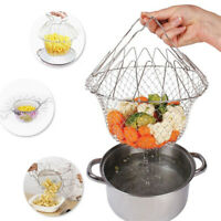 Foldable Fry Basket Stainless steel Kitchen Cooking Mesh Colander Strainer TOL
