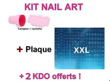KIT TAMPON + raclette + PLAQUE XXL A / stamping NAIL ART / ongles déco / NEUF