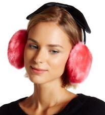 Kate Spade Black Satin Bow Headband Earmuffs with Faux Fur FLUFFY HUGE PINK MUFF