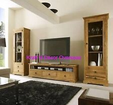Comtempory Entertainment Unit and 2 Standing Display cabinet of Shesham Wood